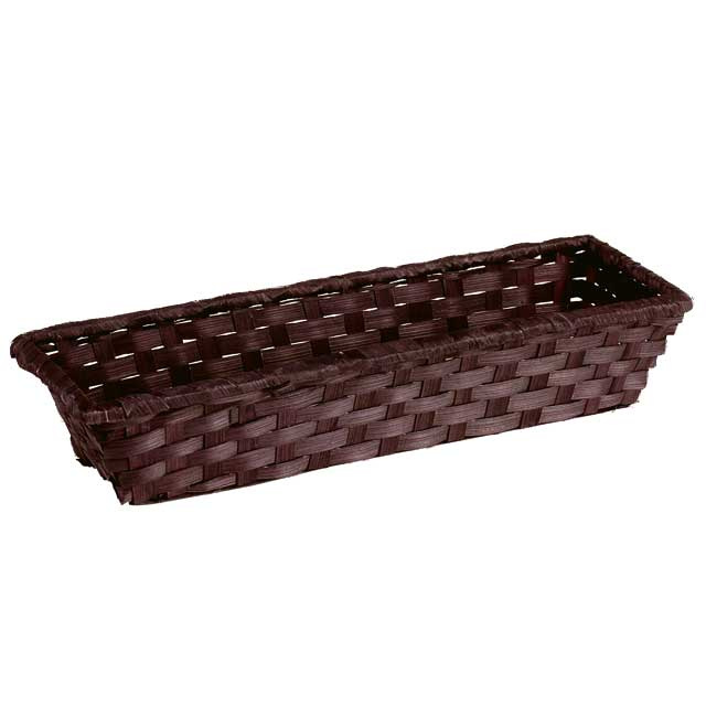 Corbeille bambou rectangle marron