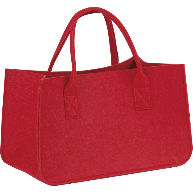 Sac feutre rectangle rouge 2 anses