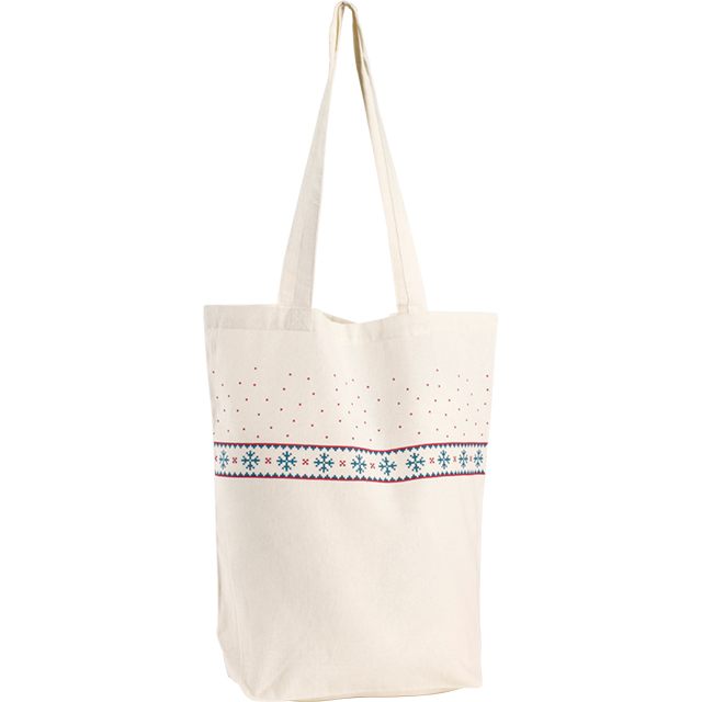 Sac coton décor flocons 2 anses - Tote bag