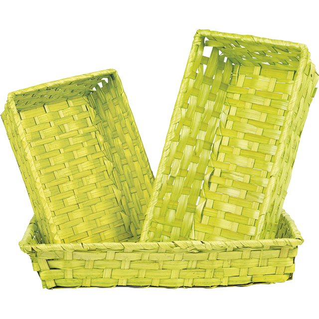 Corbeille bambou rectangle vert anis