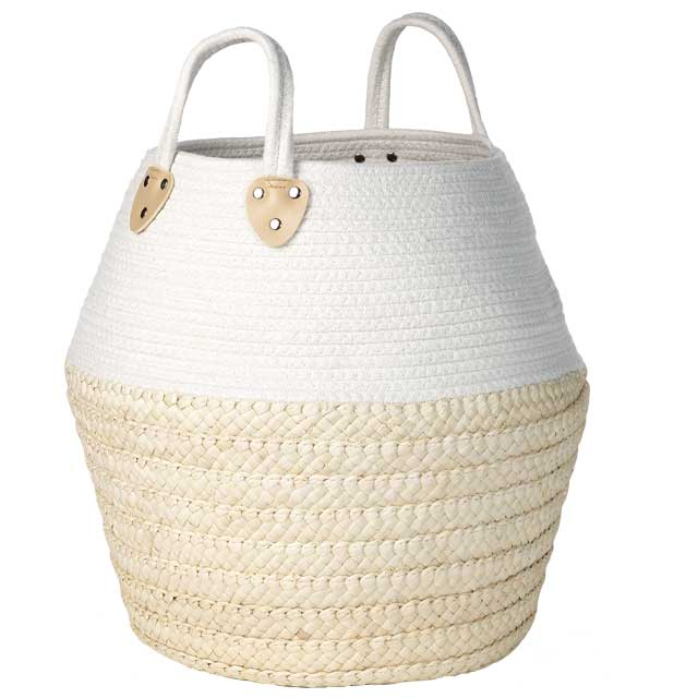 996abbc168 Bambou Diffusion - Round braided corn and cotton basket natural ...