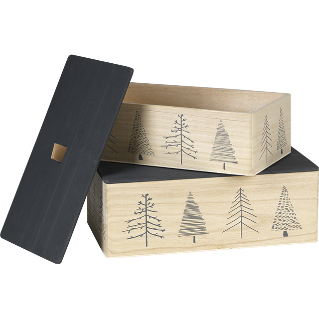 Coffret bois rectangle nature/gris décor sapins angles arrondis