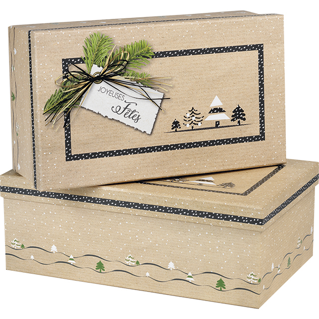 Coffret carton rectangle kraft