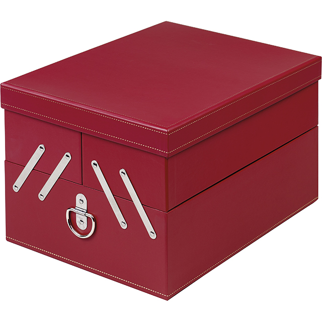 Coffret carton rectangle 3 compartiments calage amovible 3 séparations rouge/or 33,5x25,5x20,4 cm