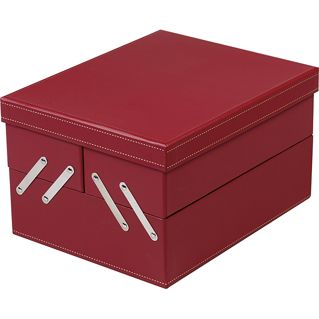 Coffret carton rectangle 3 compartiments calage amovible 2 séparations rouge/or 26,5x21x15 cm