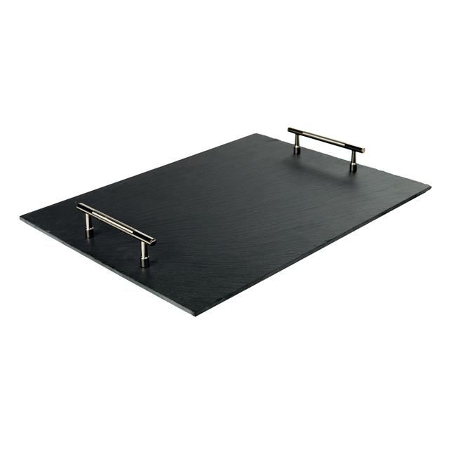 Plateau ardoise rectangle avec patins/poignées métal