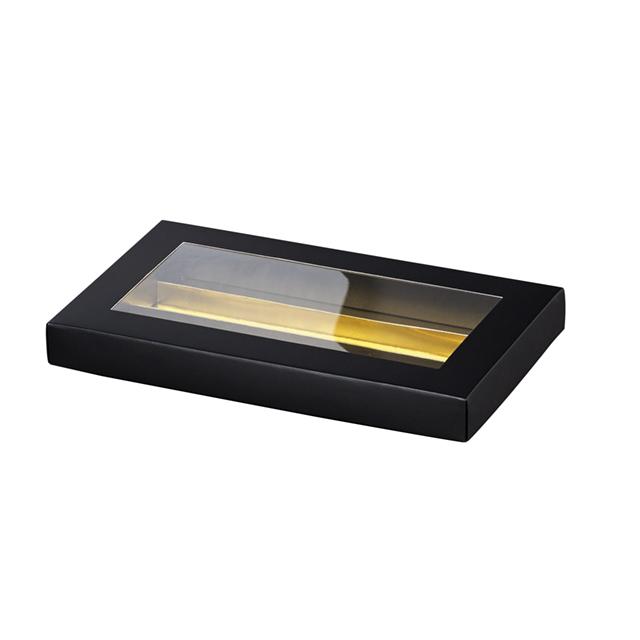 Coffret carton rectangle chocolats 3 rangées noir/or fenêtre PVC
