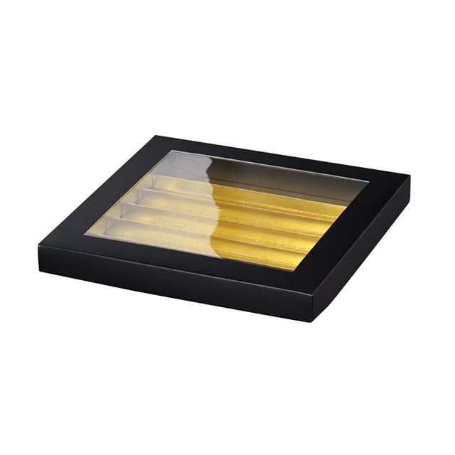 Coffret carton rectangle chocolats 6 rangées noir/or fenêtre PVC