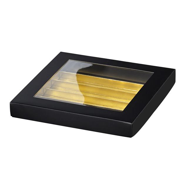 Coffret carton rectangle chocolats 5 rangées noir/or fenêtre PVC