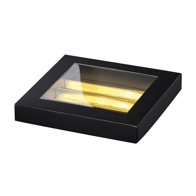 Coffret carton rectangle chocolats 4 rangées noir/or fenêtre PVC