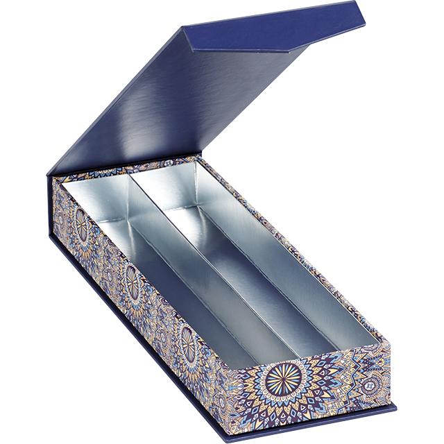 Coffret carton rectangle chocolats 2 rangées bleu/rosaces fermeture aimantée