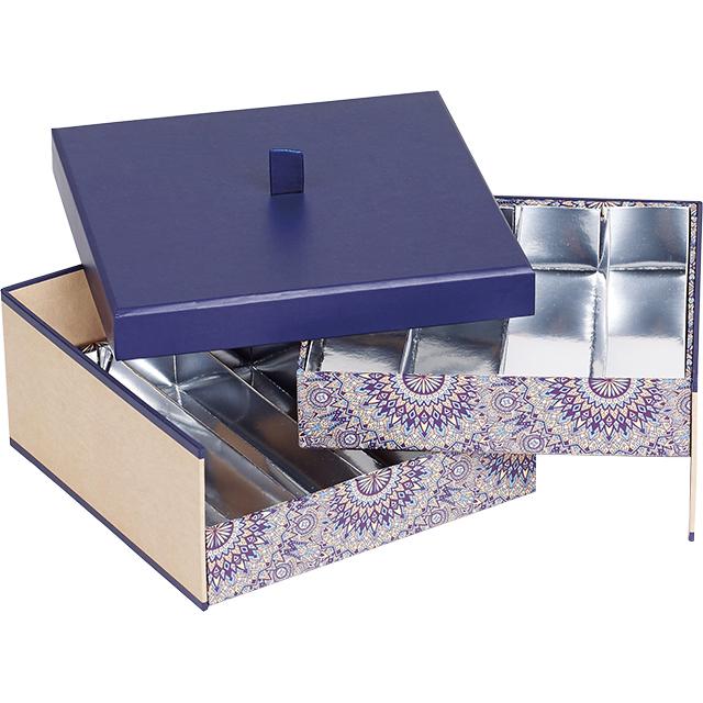 Coffret carton carré chocolats 2 étages kraft/bleu/rosaces 2 x 4 rangées