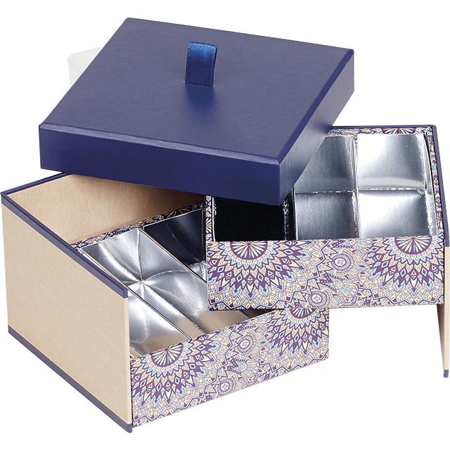 Coffret carton carré chocolats 2 étages kraft/bleu/rosaces 2 x 3 rangées