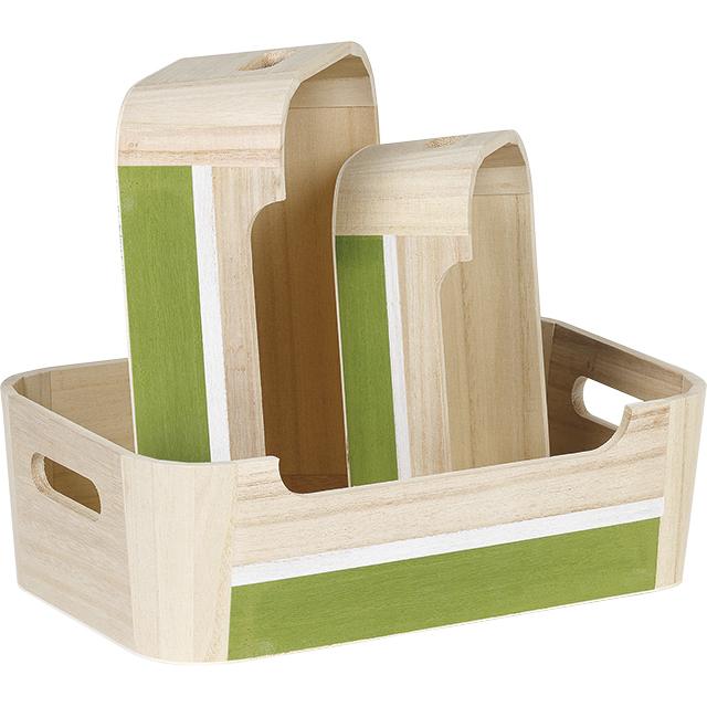 Corbeille bois rectangle nature blanc/vert poignées angles arrondis
