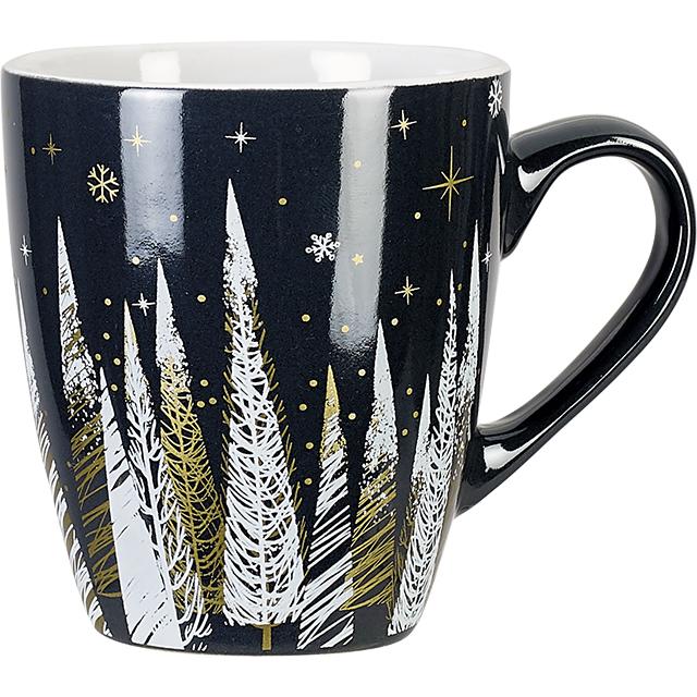 Mug céramique décor Bonnes Fêtes gris D7,5/10,5x8,5 cm