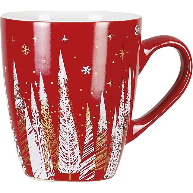 Mug céramique décor Bonnes Fêtes rouge D7,5/10,5x8,5 cm