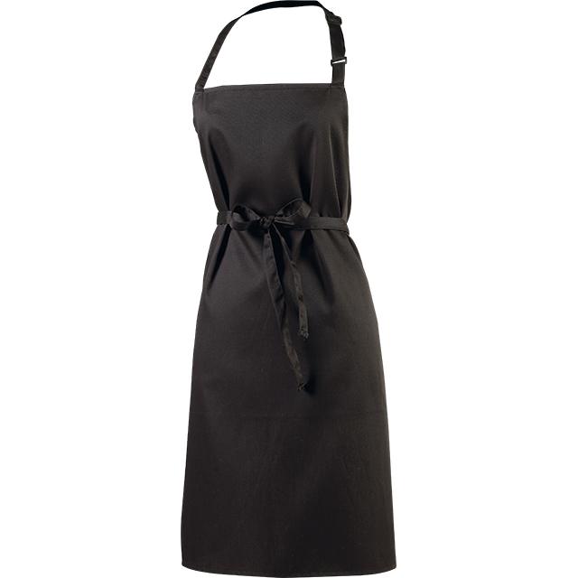 Tablier sommelier polycoton coloris noir poche/encolure réglable 68x80,5 cm